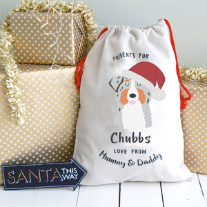 Australian Shepherd Dog Treat / Christmas Sack  - Hoobynoo - Personalised Pet Tags and Gifts