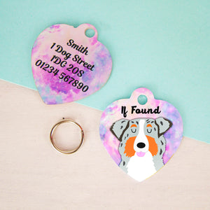 Australian Shepherd Personalised Universe Dog ID Tag - HEART  - Hoobynoo - Personalised Pet Tags and Gifts