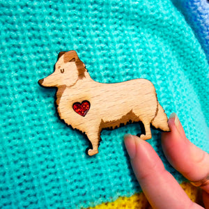 Personalised wooden Brooch - Shetland Sheepdog