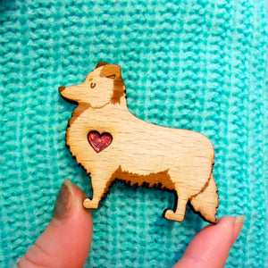Shetland Sheepdog Brooch with Glitter Heart Detail