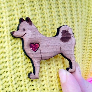 Shiba Inu Brooch with Glitter Heart Detail