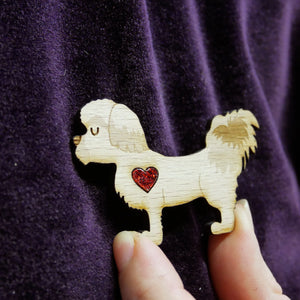 Shih Tzu Wooden Brooch with Glitter Heart Detail
