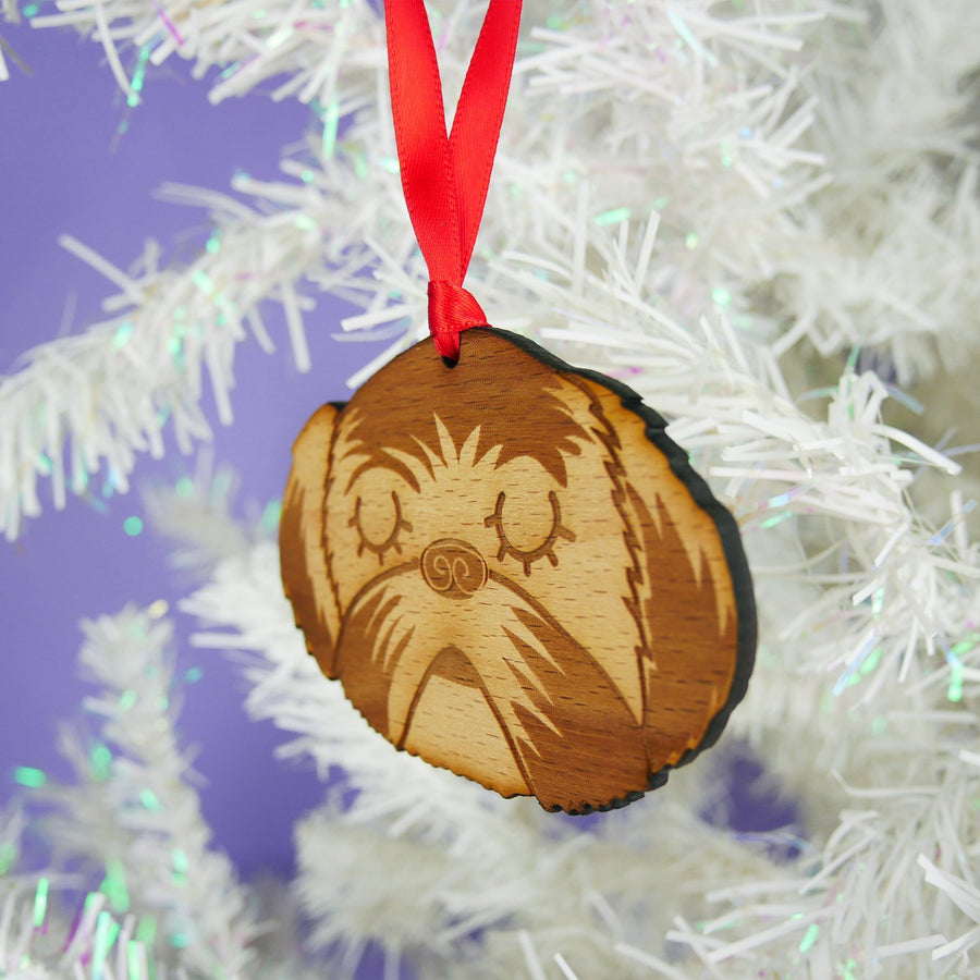 Wooden Shih Tzu Hanging Decoration