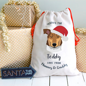 Smooth Collie Personalised Christmas Present Sack