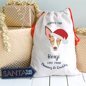 Spanish Podenco Personalised Christmas Present Sack