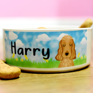 Personalised Ceramic Dog Bowl - Spring Collection