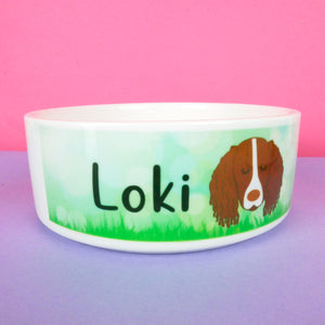 Personalised Dog Bowl - Spring Meadow  - Hoobynoo - Personalised Pet Tags and Gifts