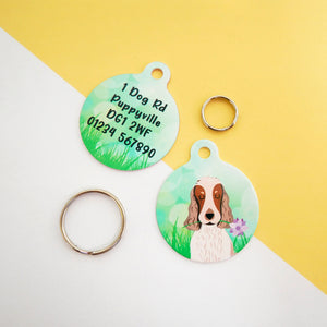 Cocker Spaniel Portrait Dog ID Tag - Spring Meadow  - Hoobynoo - Personalised Pet Tags and Gifts