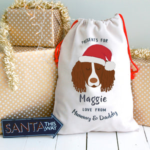 Springer Spaniel Personalised Christmas Present Sack
