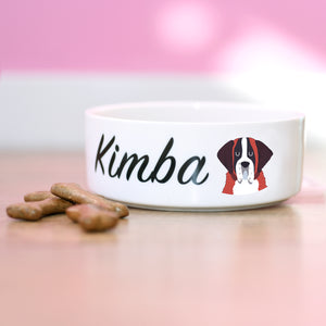 St Bernard Personalised Bold Ceramic Dog Bowl