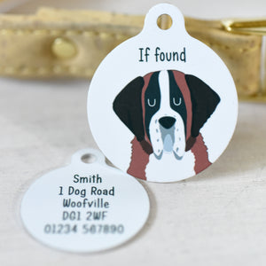 Personalised St Bernard Dog Tag