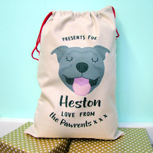 Staffordshire Bull Terrier Christmas Sack  - Hoobynoo - Personalised Pet Tags and Gifts