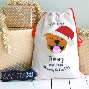 Staffordshire Bull Terrier Personalised Christmas Present Sack