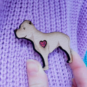 Staffordshire Bull Terrier Brooch with Glitter Heart Detail