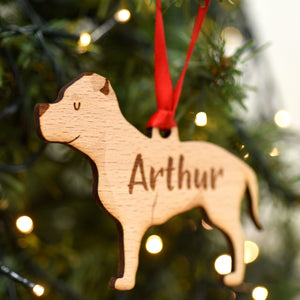 Staffordshire Bull Terrier Personalised Wooden Christmas Decoration