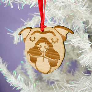 Wooden Staffie Hanging Decoration  - Hoobynoo - Personalised Pet Tags and Gifts