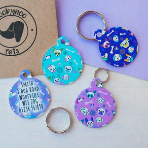 Personalised Pet ID Tag - Sugar Skull Pattern  - Hoobynoo - Personalised Pet Tags and Gifts