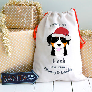 Swiss Mountain Dog Personalised Christmas Present Sack