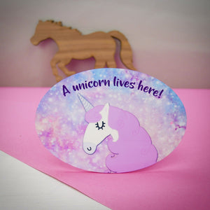 Magical unicorn horse stable sign