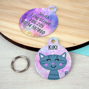 Personalised Cat ID Tag - Universe Print  - Hoobynoo - Personalised Pet Tags and Gifts