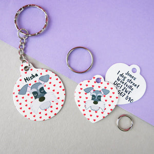 Personalised Valentines Dog ID Tag and Keyring Giftset