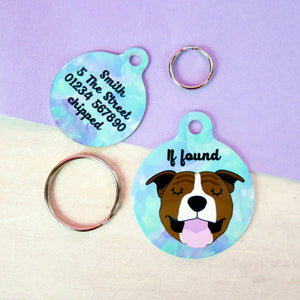 Personalised Staffordshire Bull Terrier Dog ID Tag - Watercolour