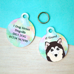 Alaskan Malamute Watercolour Personalised Dog ID Tag  - Hoobynoo - Personalised Pet Tags and Gifts