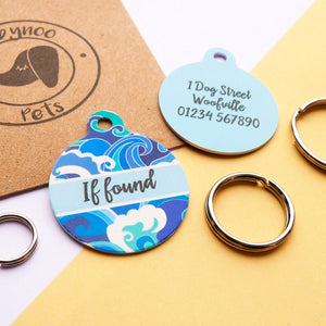 Personalised Pet Name ID Tag - Japanese Waves  - Hoobynoo - Personalised Pet Tags and Gifts