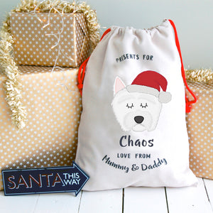 West Highland Terrier Personalised Christmas Present Sack