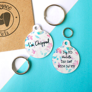 Personalised Pet ID Tag - Wildflowers  - Hoobynoo - Personalised Pet Tags and Gifts