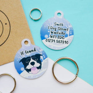 Personalised Dog ID Tag - Winter Wonderland  - Hoobynoo - Personalised Pet Tags and Gifts
