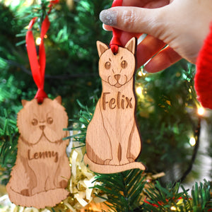 Cat Wooden Christmas Decoration  - Hoobynoo - Personalised Pet Tags and Gifts
