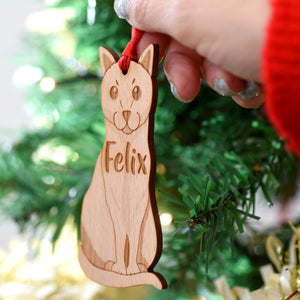 Cat Wooden Christmas Decoration