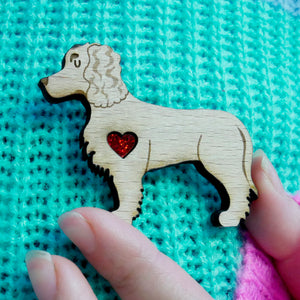 Working Cocker Spaniel Brooch with Glitter Heart Detail