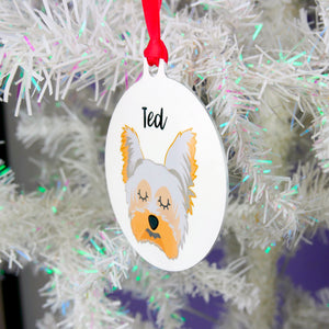 Personalised Yorkshire Terrier Christmas Decoration - Bold