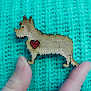 Yorkshire Terrier Brooch with Glitter Heart Detail