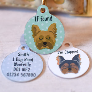 Personalised Yorkshire Terrier Dog Id Tag - Small 25mm