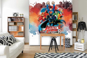 Justice League Characters on White Mural
