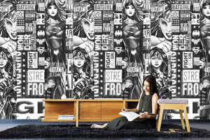 Black & White Wonder Woman Mural