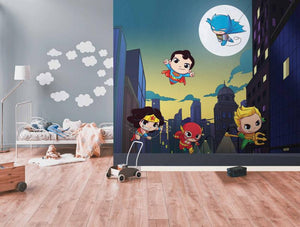 DC Super Friends Skyline Mural