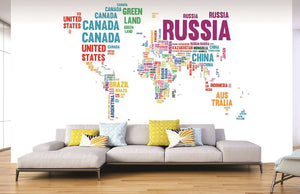 Country Names World Map Mural