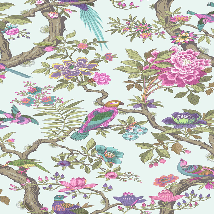 Rose Pink & Duck Egg Fontainebleau Wallpaper