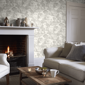 Charcoal Versailles Wallpaper