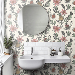 Alabaster Pink / Orange Thistle Wallpaper
