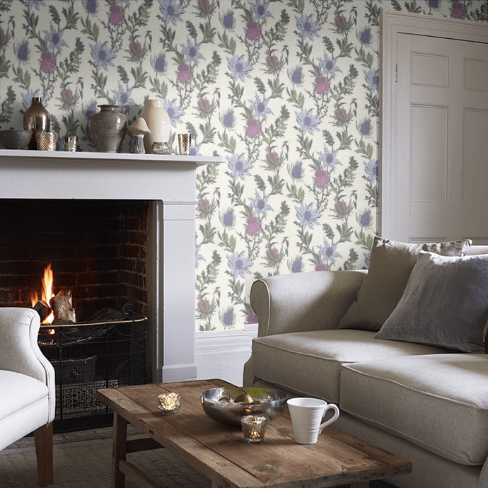 Lilac / Cerise Thistle Wallpaper