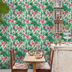 Botanical-fruit-flower-pattern-wallpaper-tropical-floral-motif