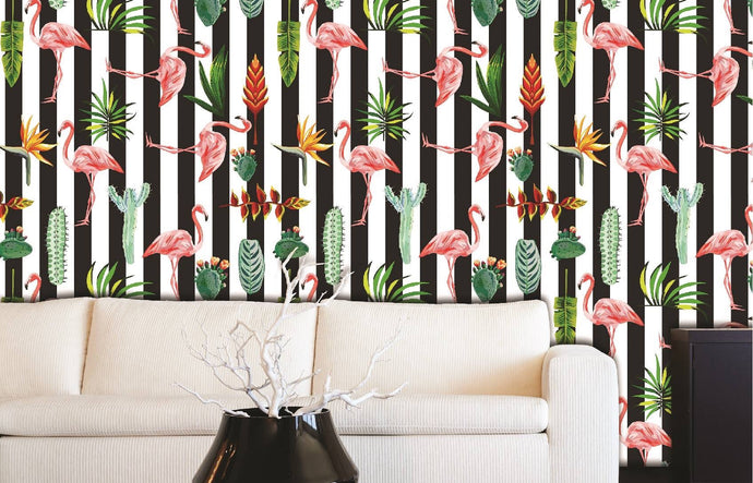 Flamingo black and white stripe