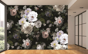 black floral wallpaper mural
