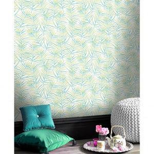 Paradise palm tropical floral motif metallic wallpaper