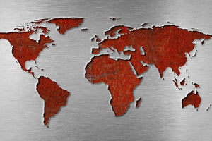 Steel & Red World Map